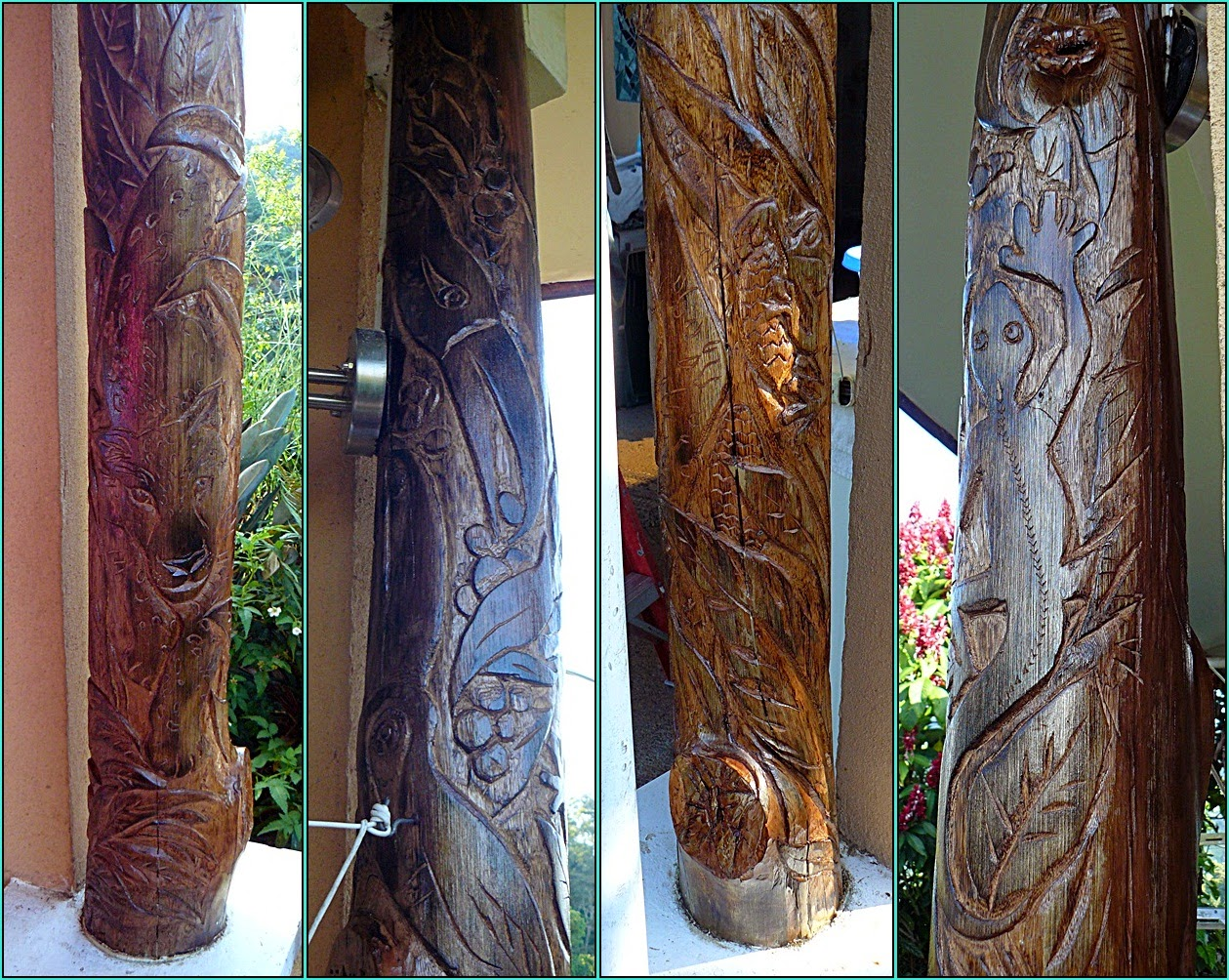 Composite of photos of eucalypto post carving