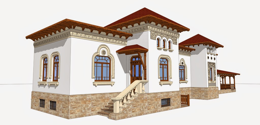 proiect de fatada casa in stil neoromanesc, profile polistiren
