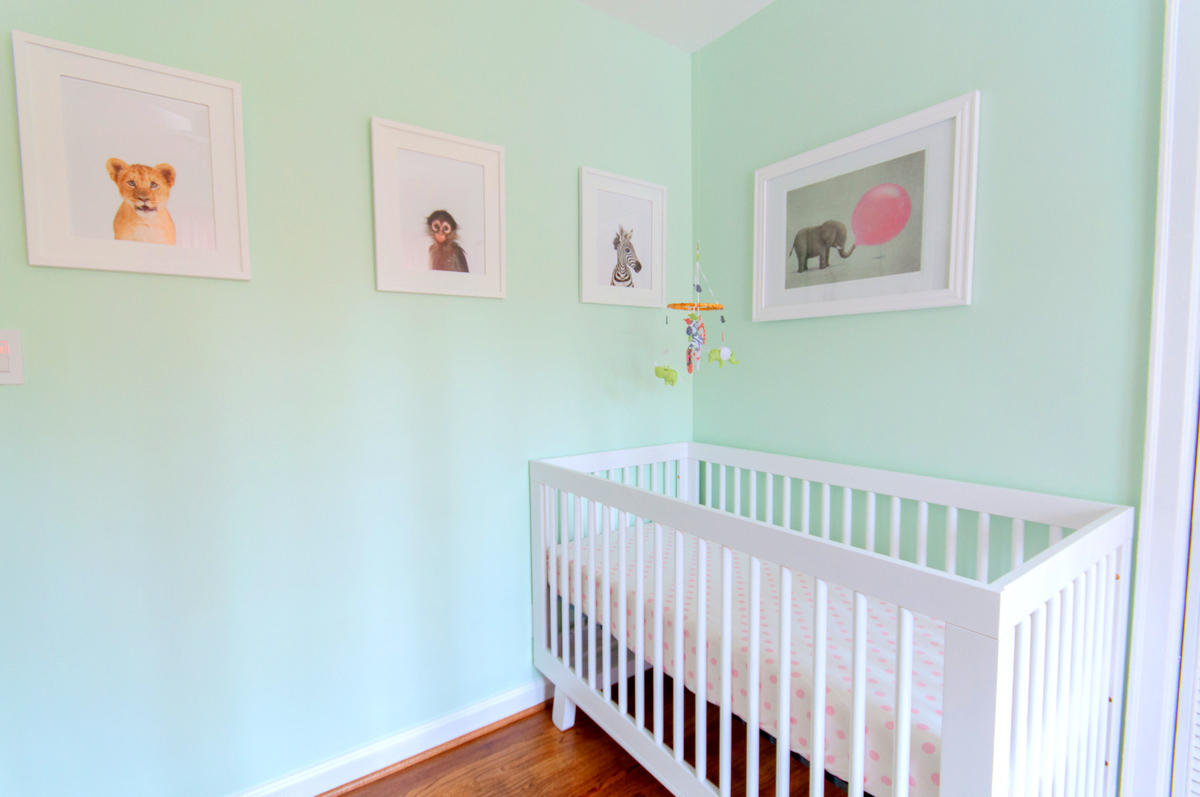 a mint green animal themed nursery - Mint Green Colors