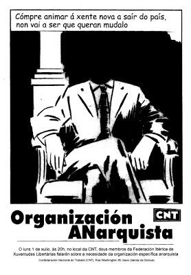 """CNT-AIT, Coruña: """"Organización anarquista"""". Charla de las FIJL  El próximo lunes día 1 de julio, a las 20.00 horas, dos miembros de la Federación Ibérica de Juventudes Libertarias (FIJL) darán una charla en el local de la CNT-AIT de La Coruña sobre la necesidad de una Organización Anarquista. El local de la Confederal se sitúa en los bajos de la calle Washington 36, justo detrás del DOMUS, en el Paseo Marítimo."""