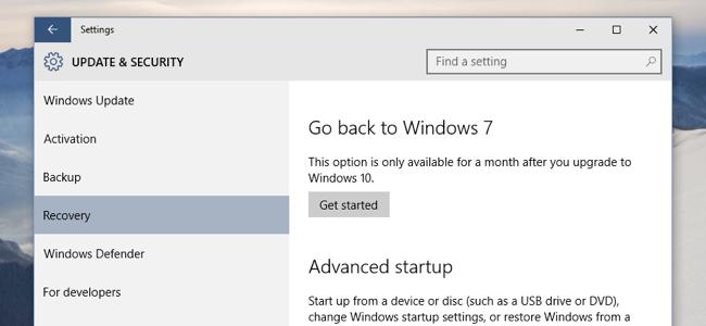 Cara Downgrade Windows 10 ke Windows 7 SP1 atau Windows 8.1