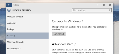 Cara Downgrade Windows 10 ke Windows 7 SP1 atau Windows 8.1
