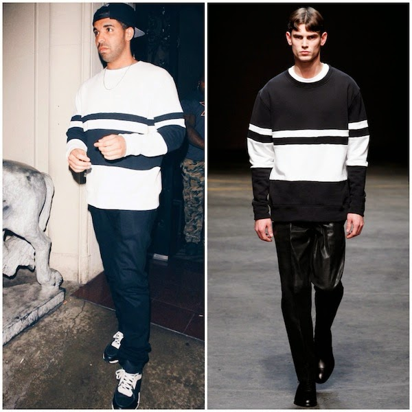 Drake in black and white striped Casely-Hayford Fall Winter 2014 'WHITFIELD' SWEATSHIRT at Mastro's Steakhouse in Beverly Hills 30 May 2014