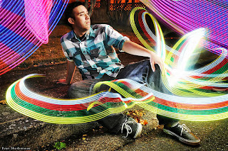 Long exposure light painting portrait