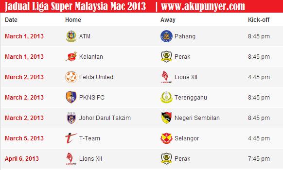 liga super malaysia 2013, jadual liga super 2013,jadual liga super