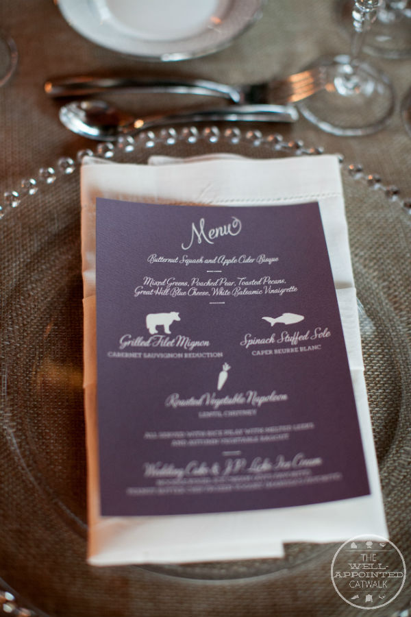 Barn wedding menus