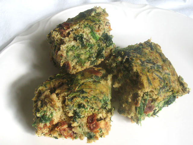 Chickpea Flour Bread with Sun-Dried Tomatoes and Spinach
