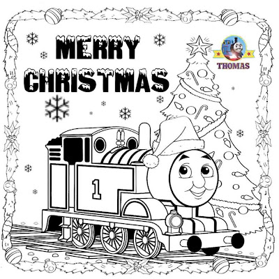 kids printable Thomas pictures Santa hat merry Christmas coloring pages online for kids to print out