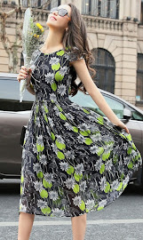 2017 Short Sleeve Floral Pleated Chiffon Dress