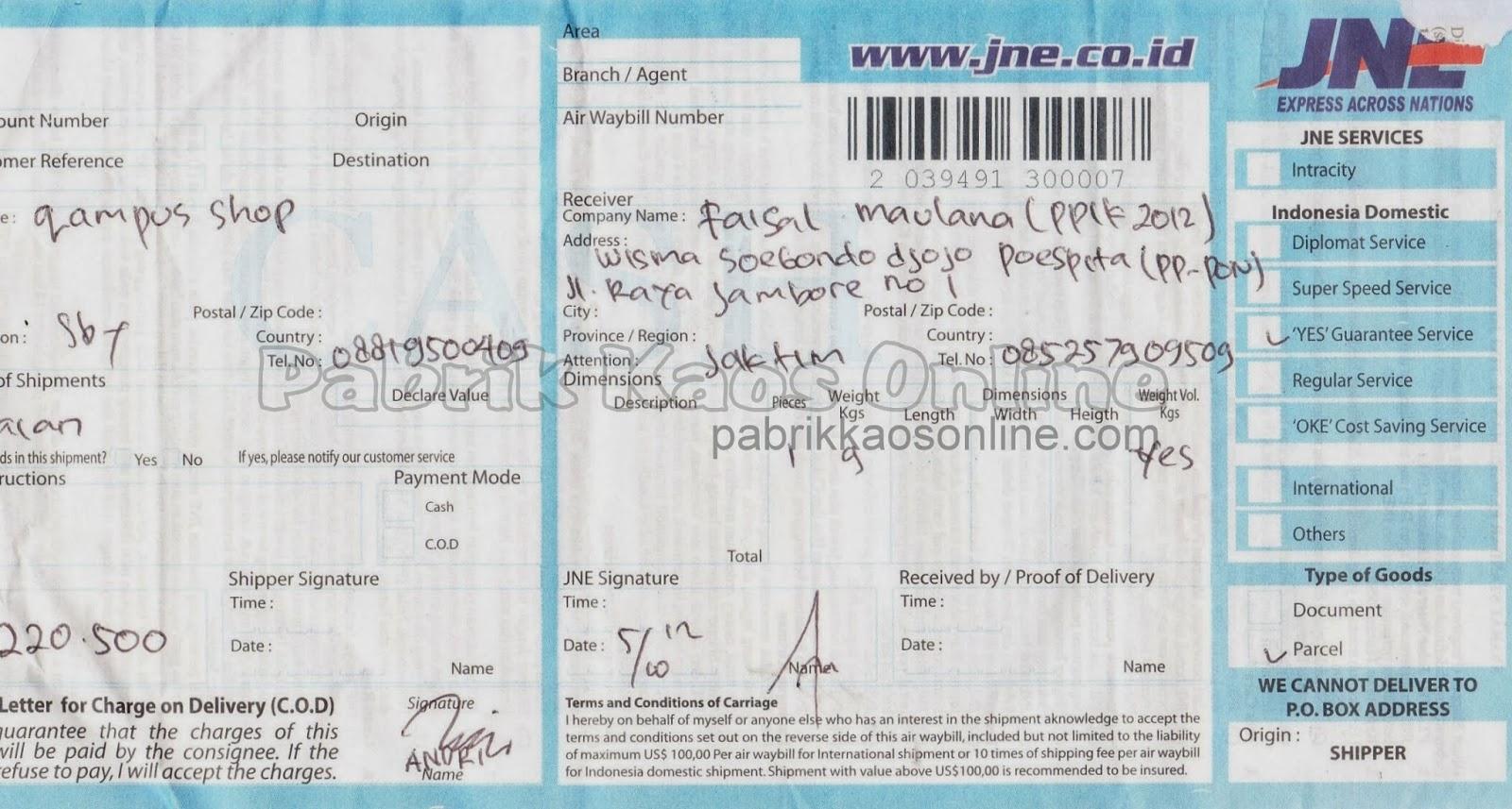 nota kirim Jakarta Timur via JNE