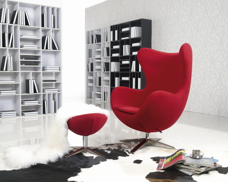 Red Wool Arne Jacobsen Egg Chair Replica With Ottoman