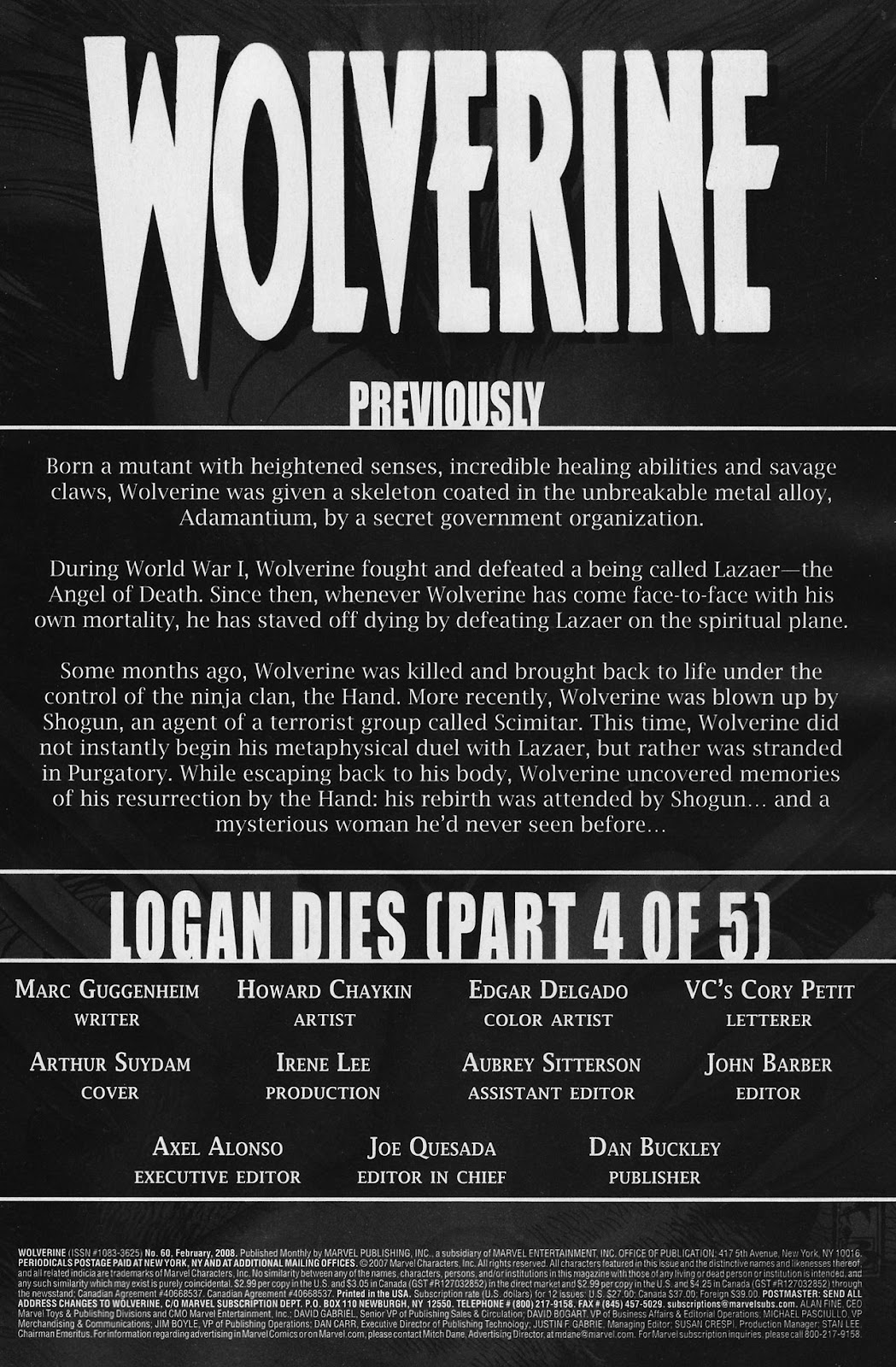 Read online Wolverine (2003) comic -  Issue #60 - 2