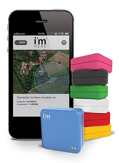 i'm Here GPS Tracker Linked to your phone by an app, GPS Tracker device slides into backpacks or pockets, i'm Here GPS Tracker allows you to track family members,