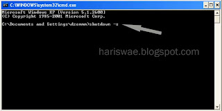 shutdown komputer xp, shutdown dari command prompt