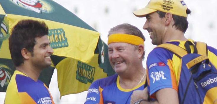 Suresh-Raina-Steve-Rixon-Stephen-Fleming-CSK-IPL-2013