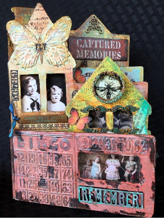 Altered mixed media children's book using DecoArt products.
