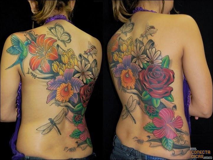 Flores - Tatuagens Femininas nas costas grande