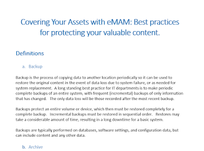 Covering Your Assets with eMAM: Best practices for protecting your valuable content.