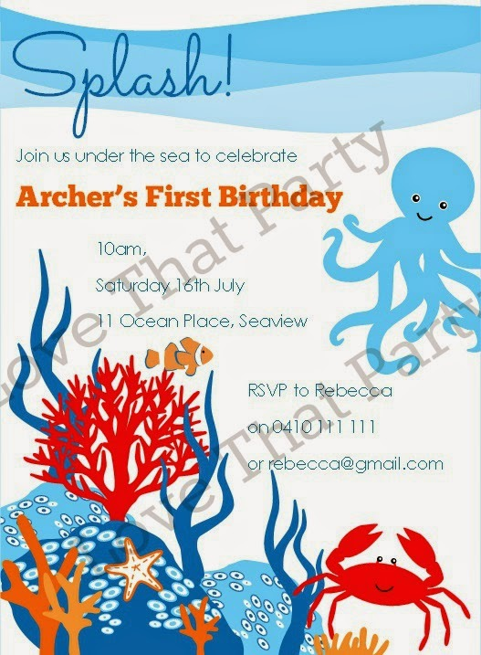 Under the Sea Party Printable Invitation by Love That Party. http://lovethatparty.bigcartel.com/product/under-the-sea-party-printable-invitation-digital-file