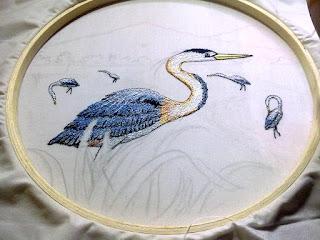 Lukis bordir burung blekok