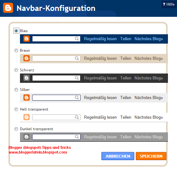 Navbar navigationsleiste bie Blogger Blogspot entfernen