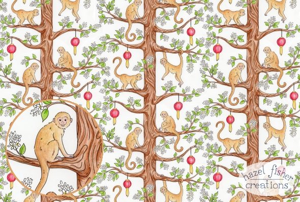 Year of the Monkey Spoonflower contest design entry hazelfishercreations