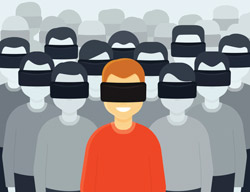 Graphic of many people wearing virtual reality headsets.