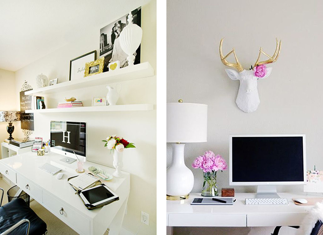 white desk, home office, girly work space, pinterest office, deer head decoration