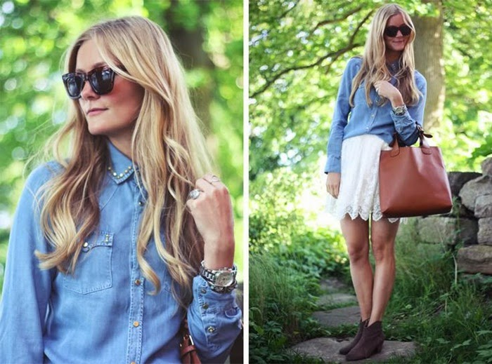 Wearing a Denim Shirt with White Lace Skirt with Brown Bag and Boots