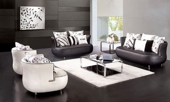Living room interior design with black and white furniture for Black white chairs living room
