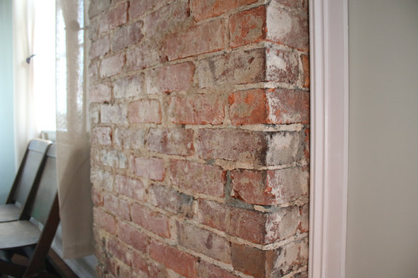 painting plaster walls17 Apart Before  After Exposing a Brick Chimney Under Plaster Walls