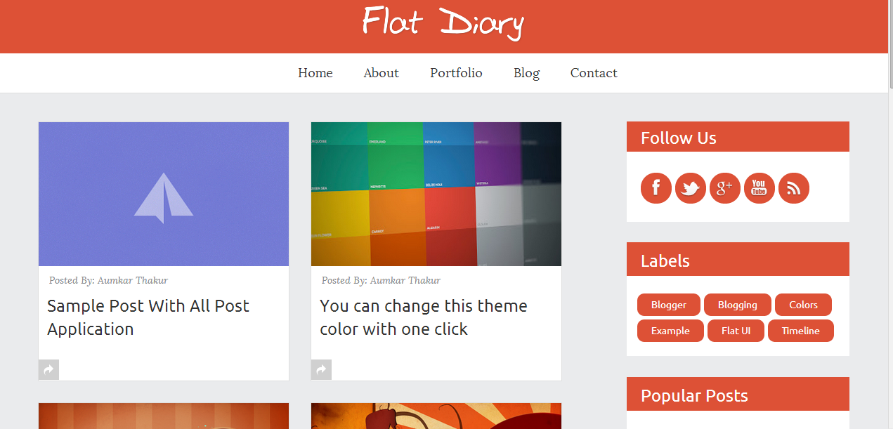 flat diary Faster loading responsive blogger templates