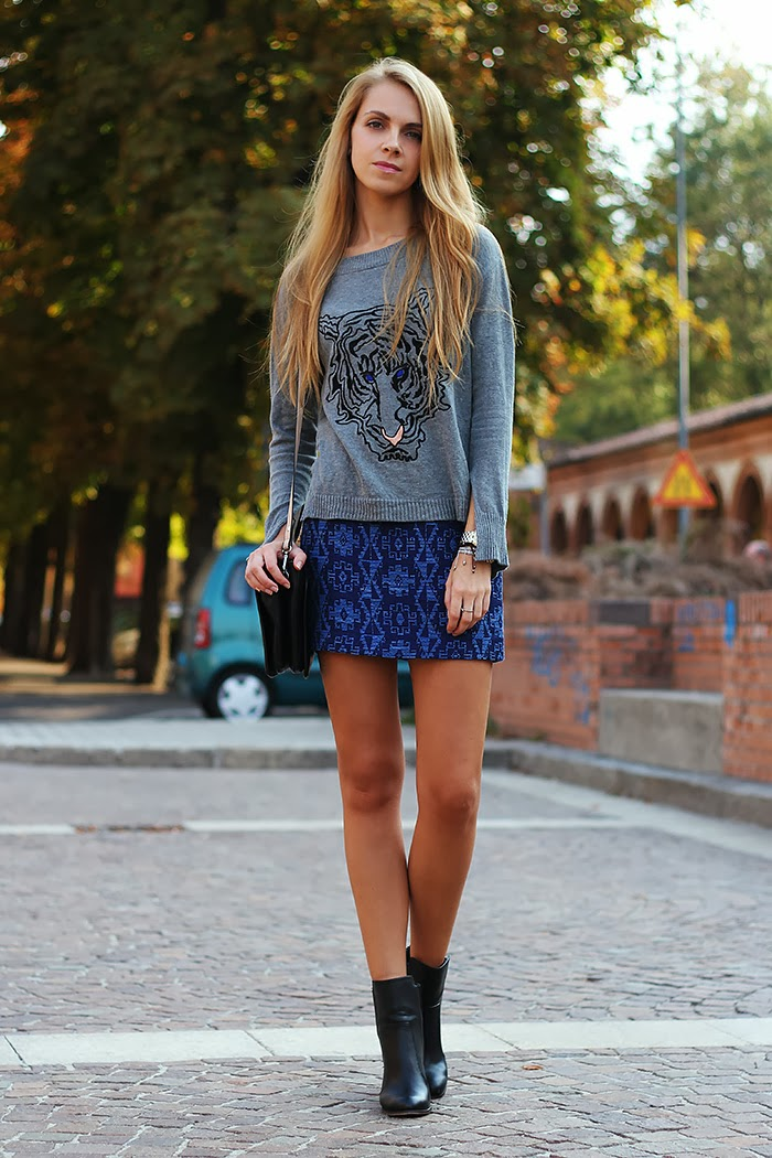 zara, grey, blue skirt, tiger sweater, casual