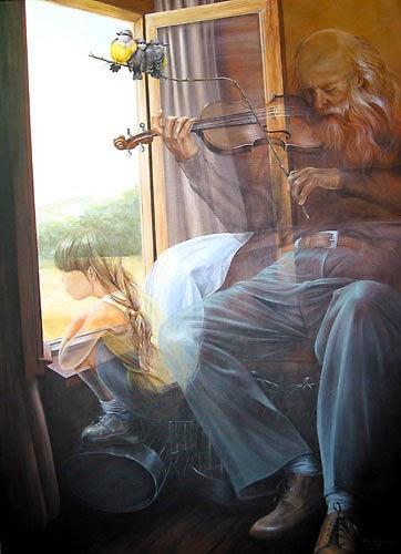 pintura de idoso tocando violino