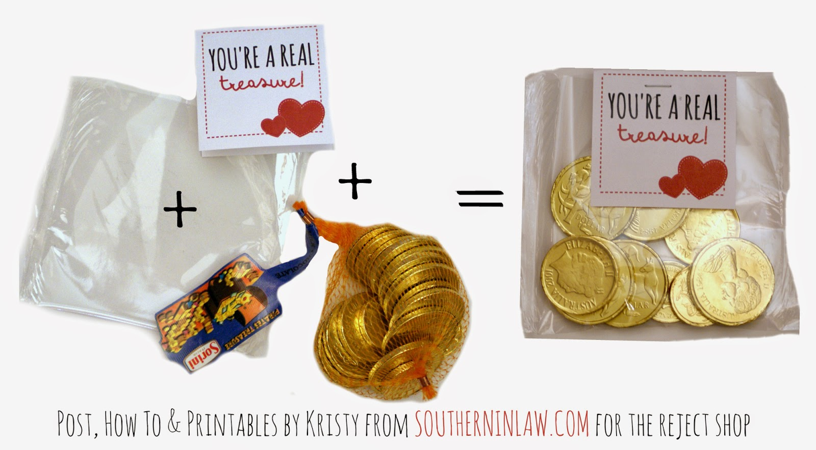 You're a Real Treasure - Chocolate Coins Valentines Gift Idea - Punny Valentines Gift Ideas Free Printable Valentines Cards