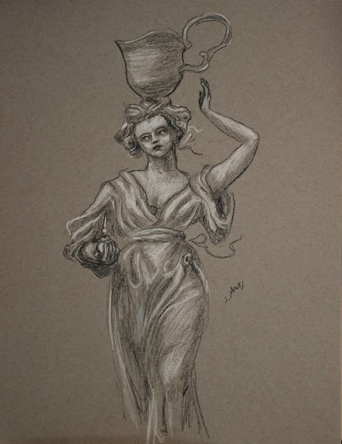 sarah, myers, drawing, sketch, study, charcoal, conte, baroque, dibujo, white, gray, grey, black, perfume, water, pitcher, grayscale, sculpture, woman, figure, figurative, lady, human, art, arte, artist