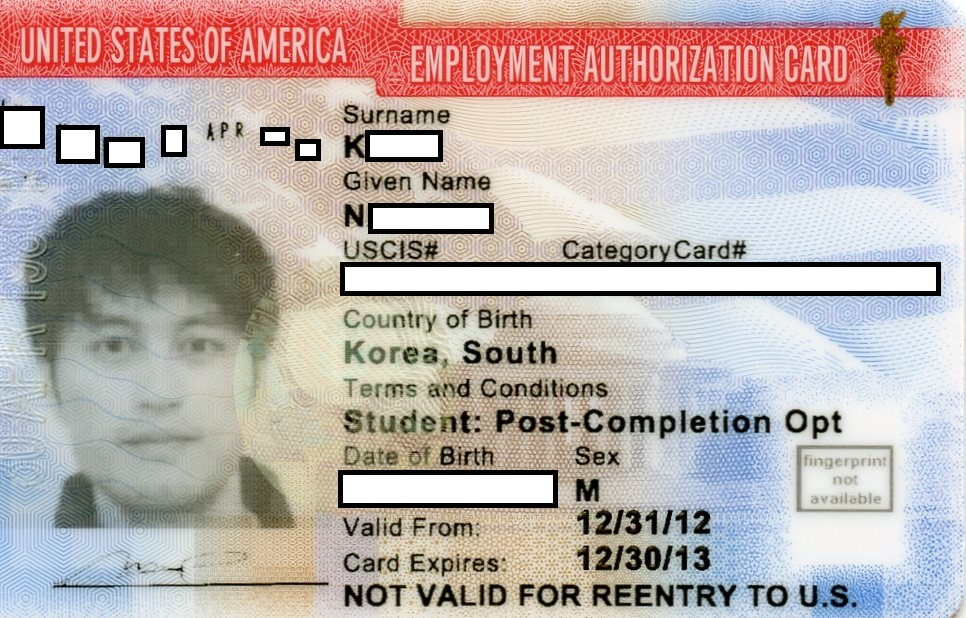 Life in the United States How to get OPT EAD card – Sample Employment Authorization Form