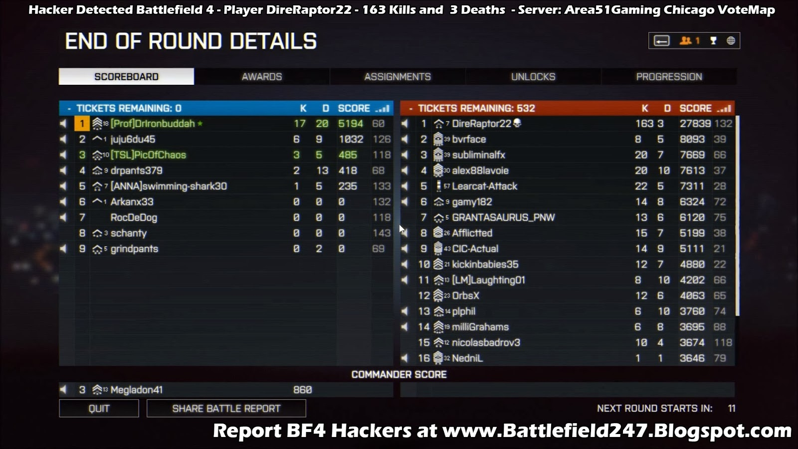 Busted - BF4 Aimbot Cheater - DireRaptor22 - Dice Punkbuster