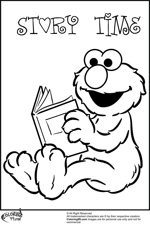 elmo reading story book coloring pages