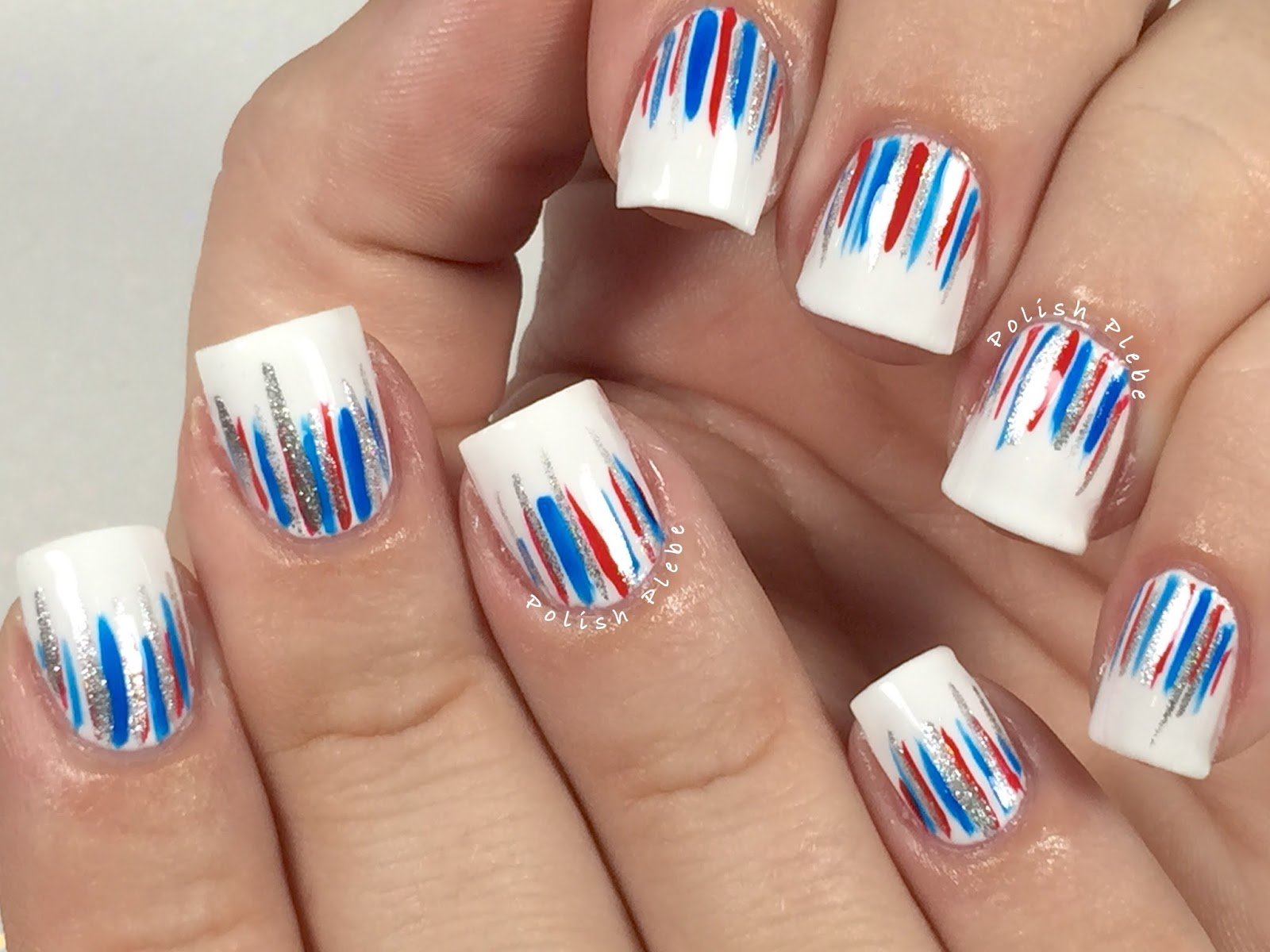 Nails Art Patriotic Waterfall