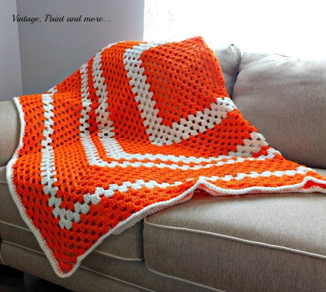 Vintage, Paint and more... afghan crochet in a simple granny square pattern