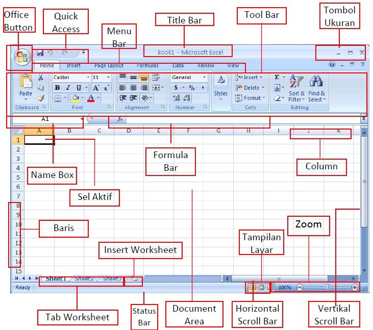 Mengenal Tampilan Lembar Kerja Excel Tutorial Ms Office