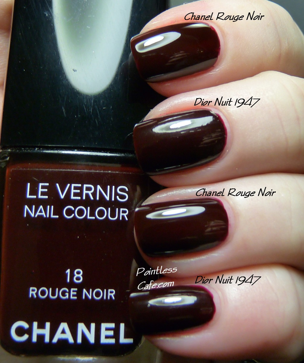 Dior Nuit 1947 - Swatches and Comparison with Chanel Rouge Noir ...