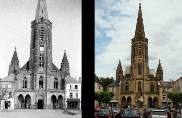 The Ludwigskirche after the war and today.