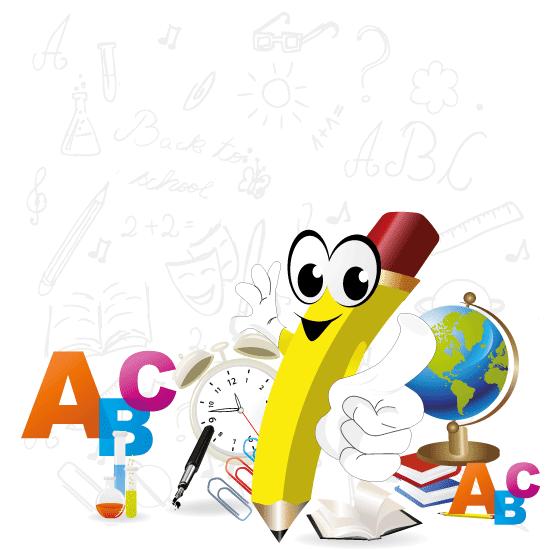 Caricatura de un lápiz escolar - Vector