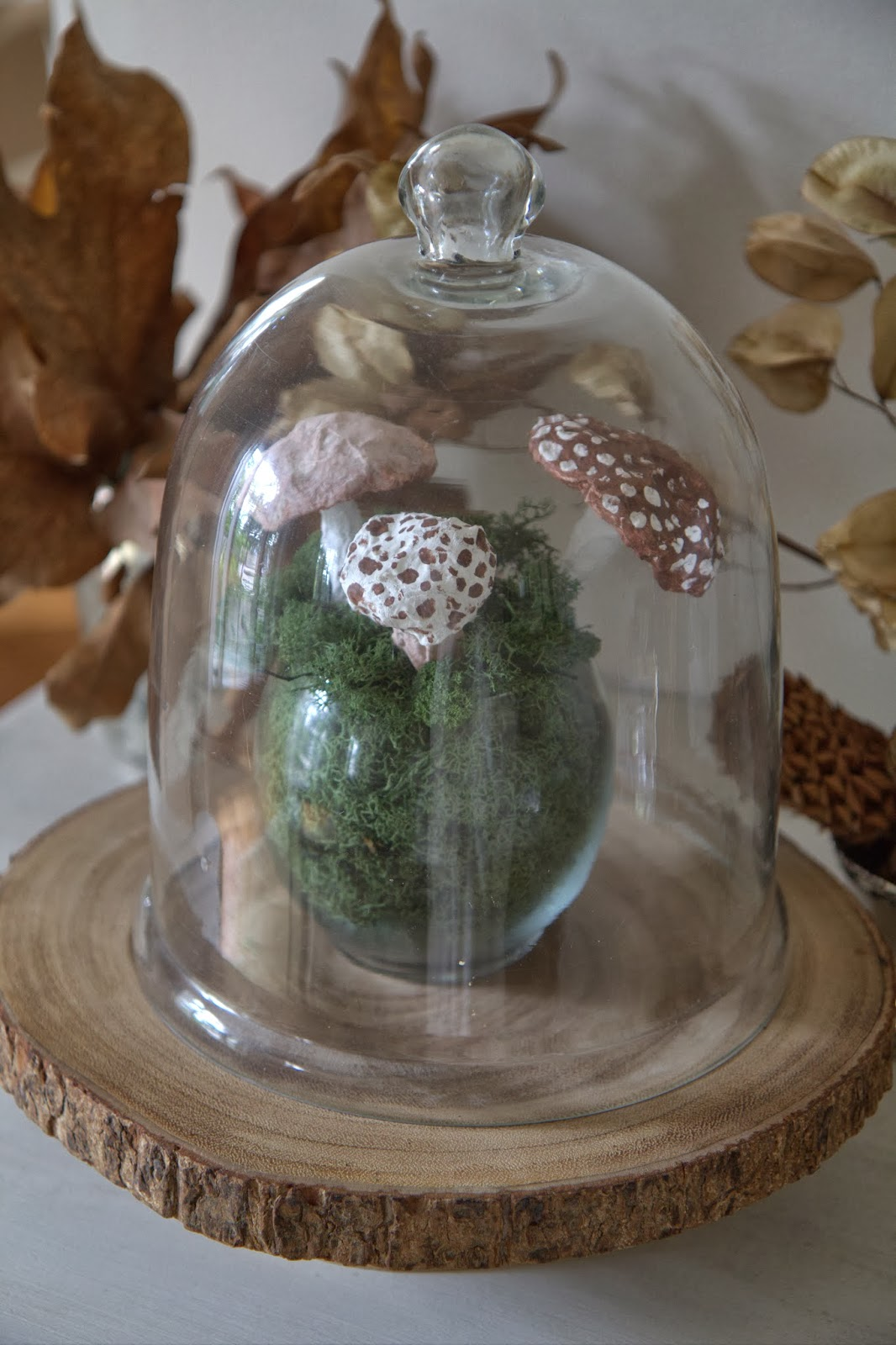 Paper Mache Mushrooms in Moss 8