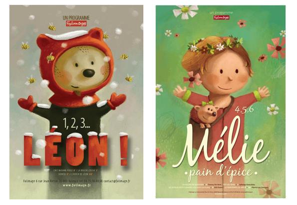 """Affichettes """"1,2,3 Léon"""" et """"4,5,6 Mélie pain d'épice"""" - ©Folimage"""