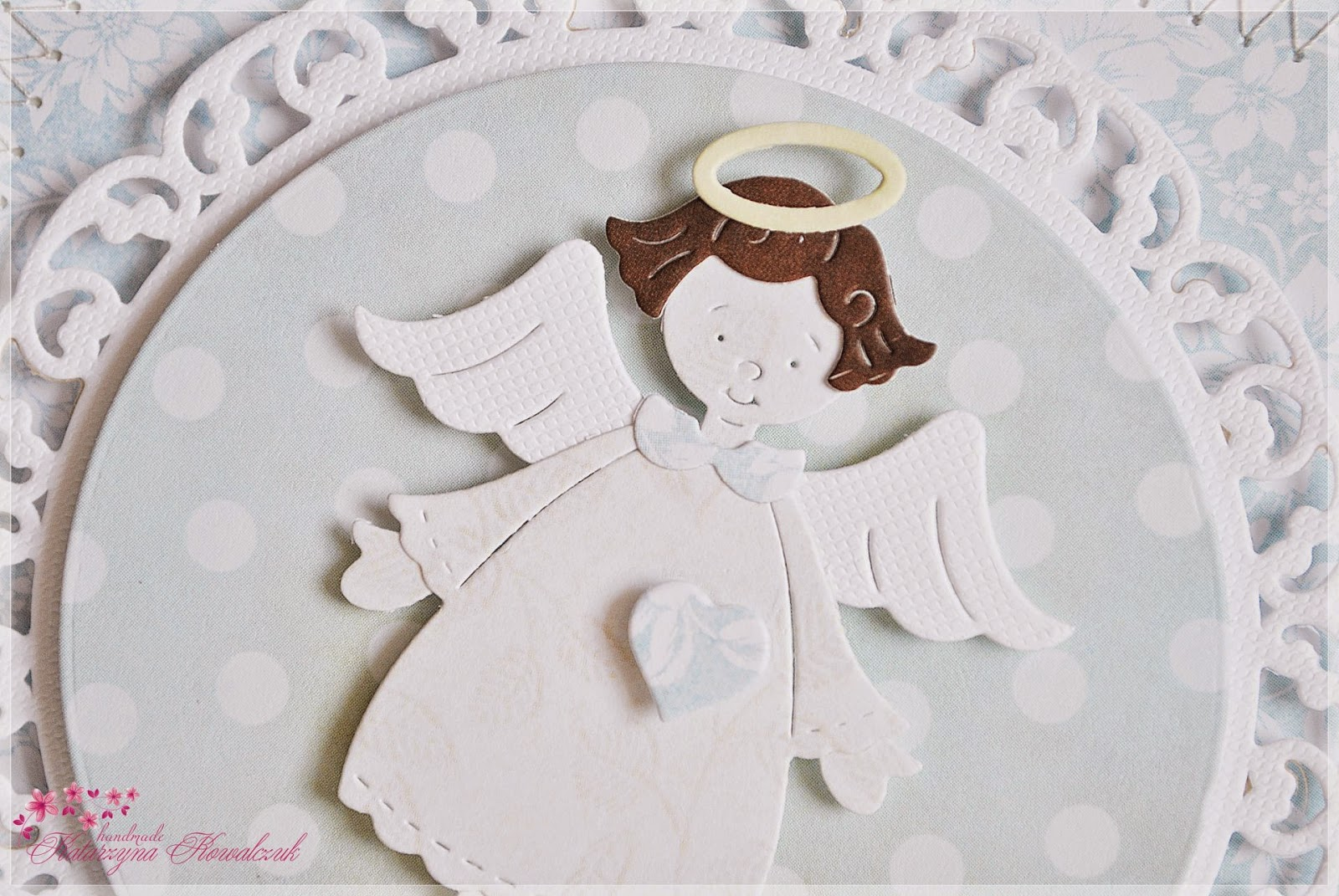 zaproszenie na Chrzest Święty z aniołkiem scrapbooking