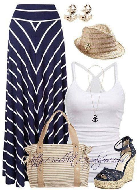 Blue/White Stripped Maxi Skirt & White Tank Outfit