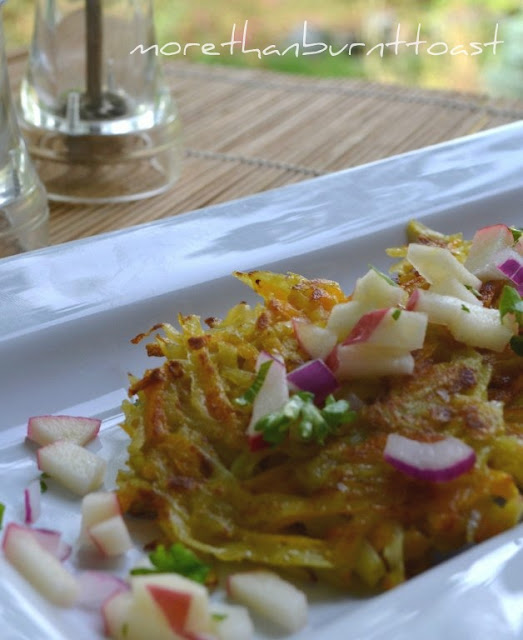 Curried Butternut Squash and Potato Latkes with Apple Salsa